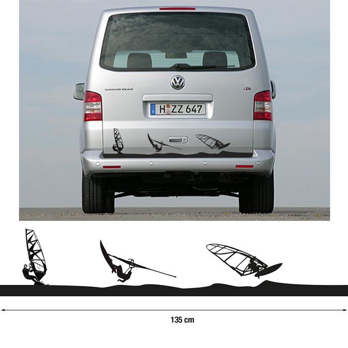 auto aufkleber camper f r heck windsurfer. Black Bedroom Furniture Sets. Home Design Ideas