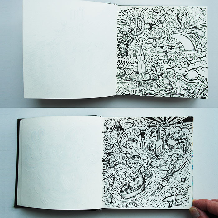 Die Vorlage zu den beiden Motive aus dem Skizzenbüchern