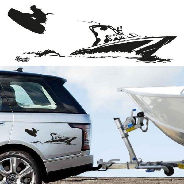 Autoaufkleber Wakeboarder und Motorboot